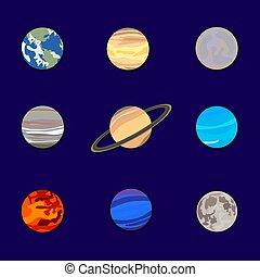 青, セット, 惑星, イラスト, 空, システム, ベクトル, 暗い背景, ペーパー, 太陽, cutout.