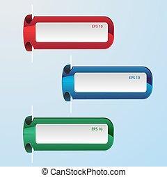 青, セット, 抽象的, ラベル, ベクトル, 緑の赤