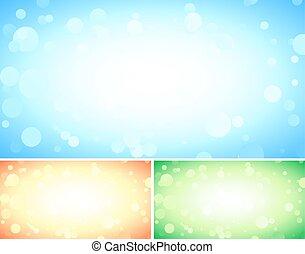 青, セット, 抽象的, 背景, 3, ライト, bokeh