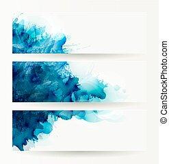 青, セット, 旗, 抽象的, 3, ヘッダー, blots