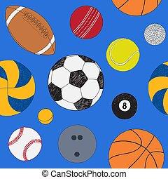 青, セット, 有色人種, パターン, seamless, 手, バックグラウンド。, ベクトル, included, 引かれる, balls., スポーツ, sketch.
