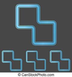 青, セット, 科学, デザイン, ロゴ, 線