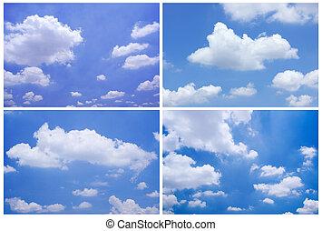 青, セット, 空, 背景