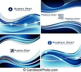 青, セット, 背景, 抽象的