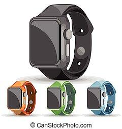 青, セット, 腕時計, オレンジ, 緑, 黒, 痛みなさい