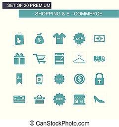 青, セット, 買い物, ecommerce, アイコン