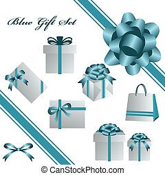 青, セット, 贈り物