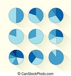 青, セット, 金融, ビジネス, パイ, 図, infographic, 円