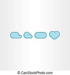 青, セット, 雲, 単純である, ベクトル, アイコン