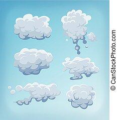 青, セット, 雲, 空, 煙, 霧