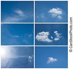 青, セット, collection., 6, 空, 日光