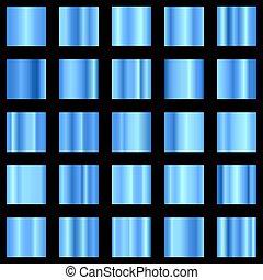 青, セット, gradient., 勾配, collection., vector.