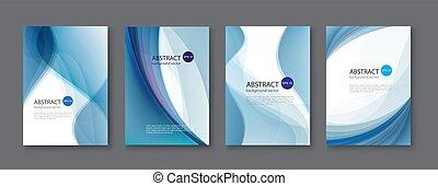 青, セット, illustration., 抽象的, バックグラウンド。, ベクトル, 線