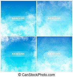 青, セット, illustration., 空, clouds., 現実的, ベクトル, 白