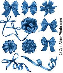 青, セット, illustration., 贈り物, 大きい, お辞儀をする, ベクトル, ribbons.