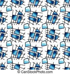 青, タイル, 抽象的, 手ざわり, ベクトル, 背景