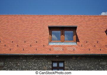 青, タイル, 窓, 空, 背景
