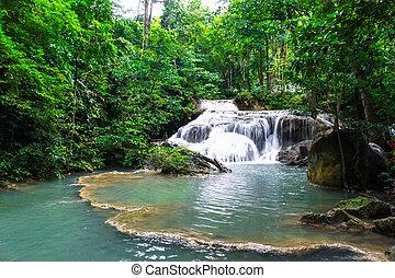 青, タイ, 滝, 森林, 流れ