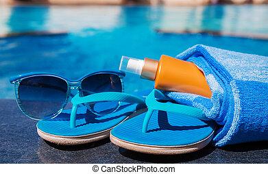 青, タオル, クリーム, sunscreen, サングラス, bord, スリッパ
