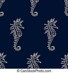 青, タツノオトシゴ属, seahorse, パターン, seamless, 暗い, バックグラウンド。, ベクトル, ...