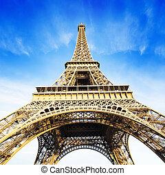 青, タワー, エッフェル, 空, 上に