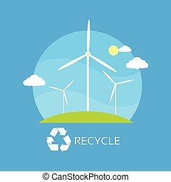 青, タワー, エネルギー, 空, 緑, リサイクルしなさい, タービン, 草, 上に, 風