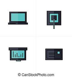 青, ターゲット, アイコン, 色, グラフ, ラップトップ, 黒, メール