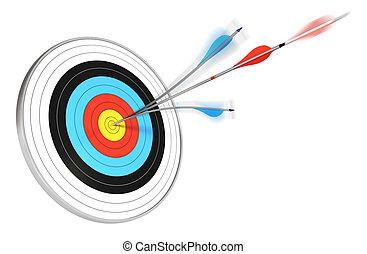 青, ターゲット, 中心, render, 上に, 矢, 1(人・つ), ヒッティング, 背景, splitted, 白い赤, 3d