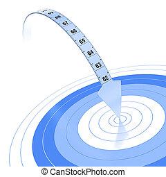 青, ターゲット, extremity., 色, 上に, 矢, プラスチック, テープ, 背景, 測定, 白, 反射