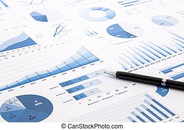 青, チャート, グラフ, データ, そして, 報告