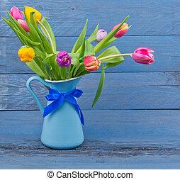 青, チューリップ, 水差し, 花束