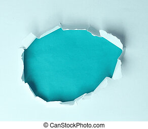 青, テキスト, 引き裂かれたペーパー, 広告, 背景, 穴, あなたの