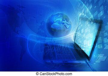 青, デジタルバックグラウンド, -, 世界的である, インターネット, 概念