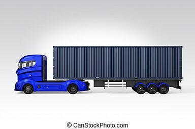 青, トラック, 容器, サイド光景