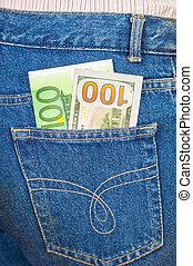 青, ドル, ジーンズ, 1(人・つ), ポケット, アメリカ人, 百, ユーロ