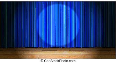 青, ドレープ, 木製である, ライト, スポット, ベージュ, カーテン, ラウンド, 空のステージ