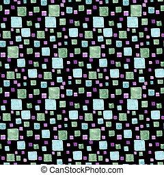 青, ドロー, パターン, seamless, 手ざわり, 手, 水彩画, 明るい, 緑, colors., 最新流行である, 黒, squares., 長方形