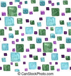 青, ドロー, パターン, seamless, 手ざわり, 手, 水彩画, 明るい, 緑, colors., 最新流行である, squares., 長方形, 白