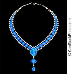 青, ネックレス, 女性, 宝石類, 宝石