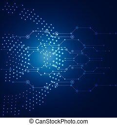 青, ネットワーク, イメージ, 世界的である, ベクトル, 背景, 技術