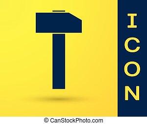 青, ハンマー, 道具, 隔離された, 黄色, バックグラウンド。, ベクトル, イラスト, repair., アイコン