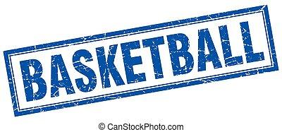 青, バスケットボール, グランジ, 切手, 広場, 白