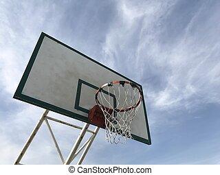 青, バスケットボール, 古い, たが, 空, 背景, ビューの下で