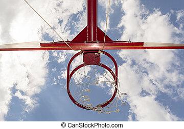 青, バスケットボール, 底, たが, 空, 背景, 光景