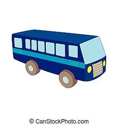 青, バス, スタイル, 漫画, アイコン