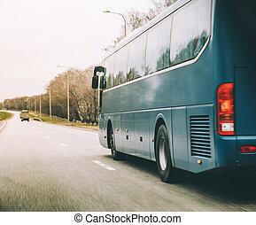 青, バス, 乗車, 上に, ハイウェー