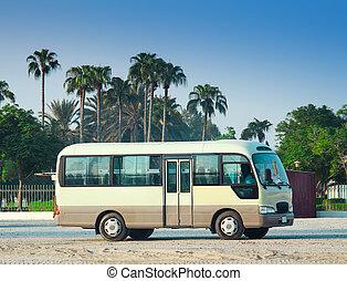 青, バス, 晴れわたった空, travel., 木, やし, 白, 砂漠