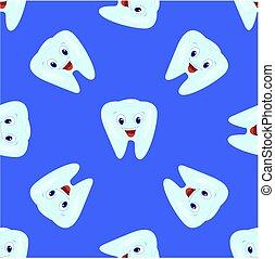 青, バックグラウンド。, パターン, seamless, イラスト, 子供, 主題, ベクトル, dentistry., 歯, teeth.