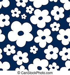 青, バックグラウンド。, textile., シルエット, デザイン, seamless, 花, グレイト・ホワイト, 単純である, 生地, 暗い, 花のパターン, ditsy, 抽象的, 小さい