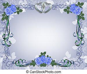 青, バラ, 結婚式, ボーダー, 招待